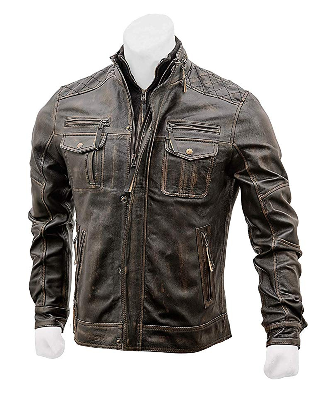 Vintage Distressed Brown Café Racer Jacket