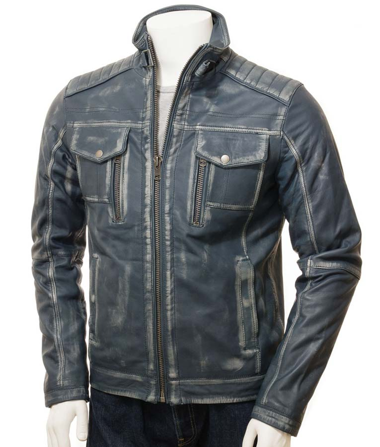 Mens Café Racer Waxed Blue Jacket
