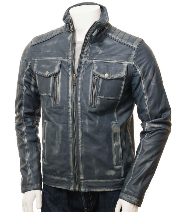 Mens Café Racer Waxed Blue Jacket