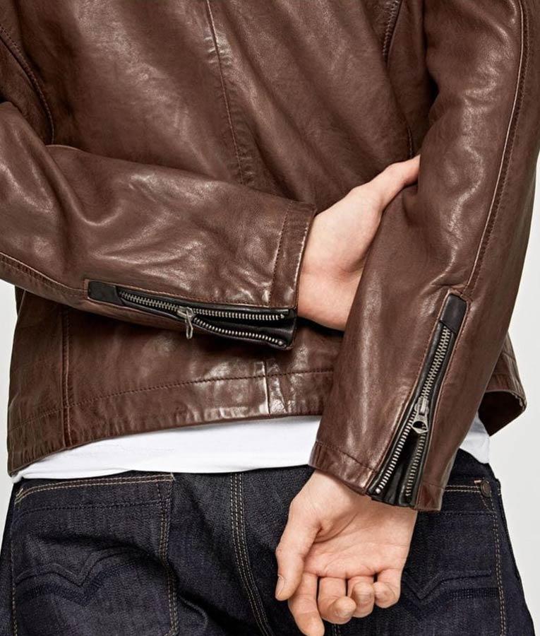 Mens Slimfit Brown Casual Cafe Racer Jacket