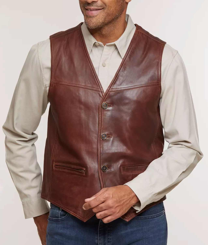 Mens Distressed Lambskin Vest