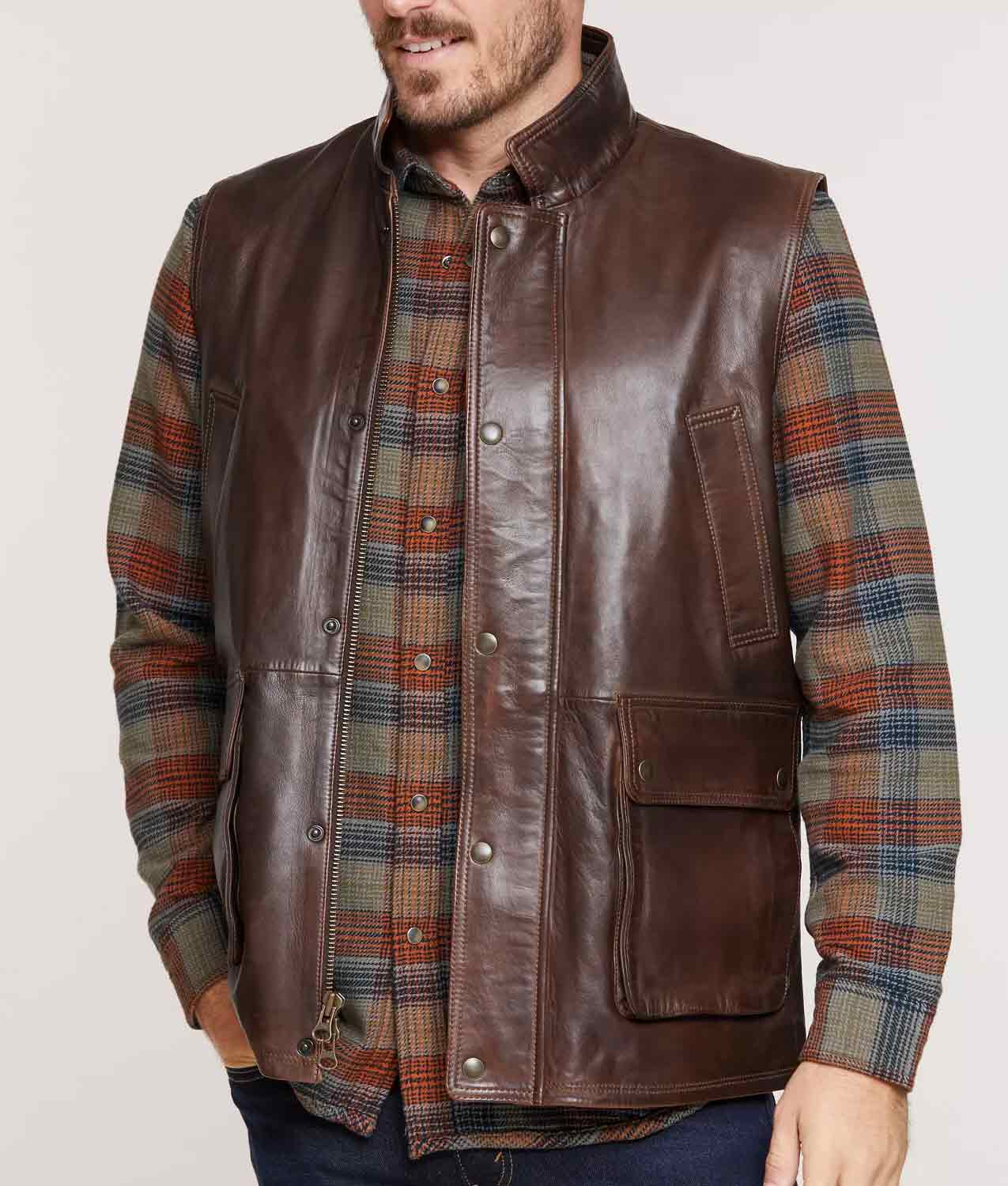 Mens Brown Lambskin Leather Vest