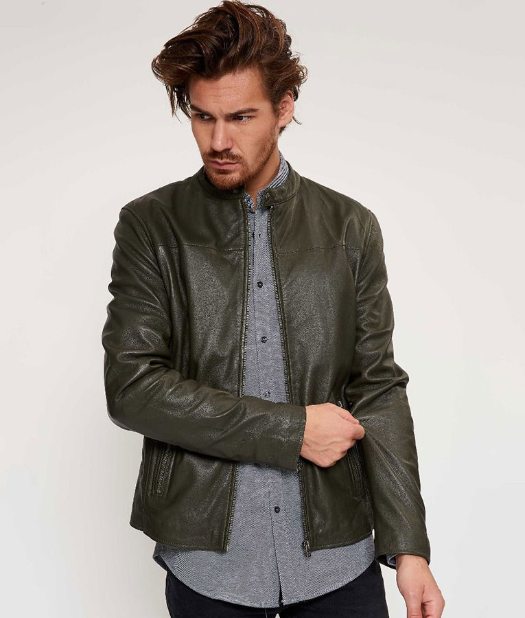 Mens Round Collar Green Biker Jacket