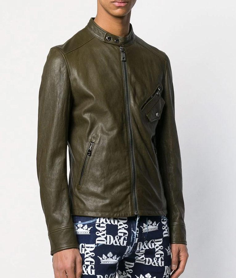 Mens Slimfit Cafe Racer Zipped Up Bomber Leather Jacket