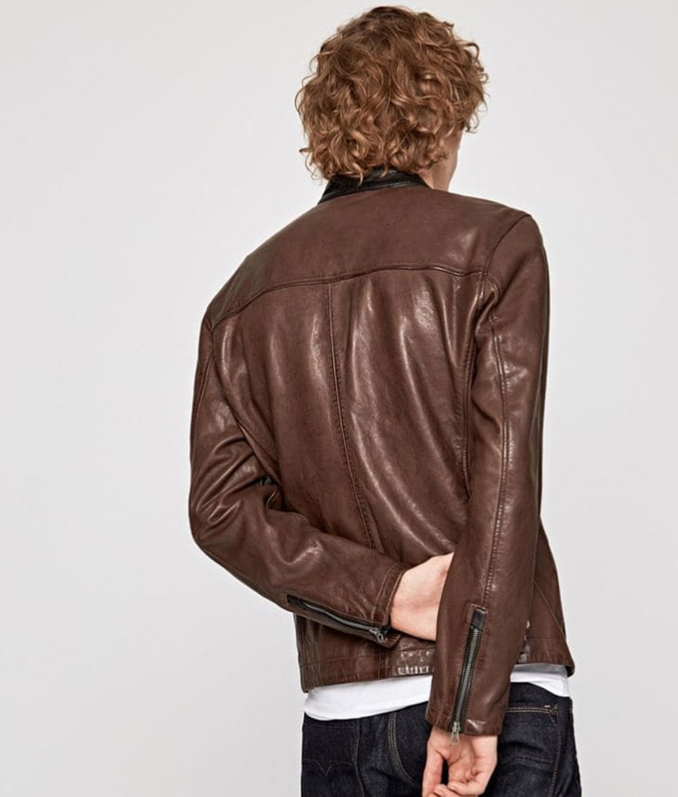 Mens Slimfit Brown Casual Cafe Racer Jacket