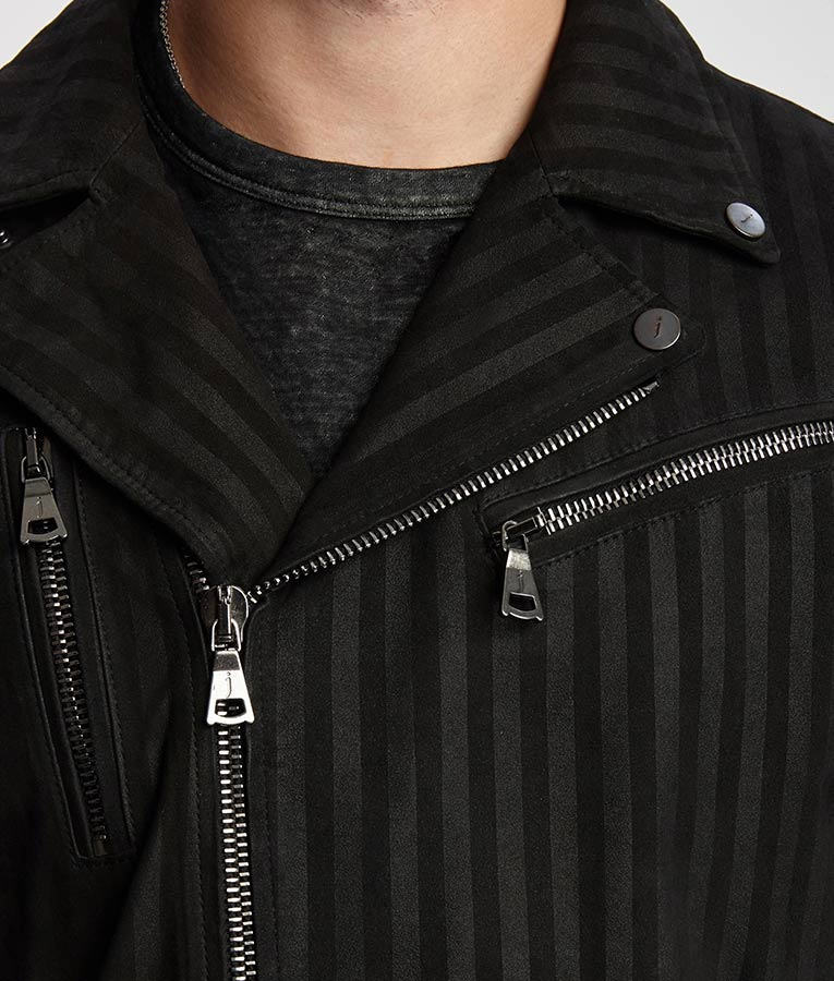 Mens Black Motorcycle Cotton Jacket