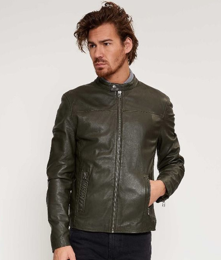 Mens Round Collar Green Biker Jacket