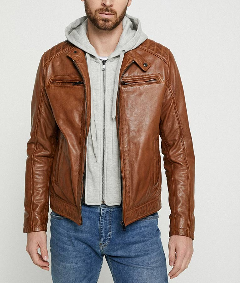Mens Hooded Collar Brown Cafe Racer Jacket
