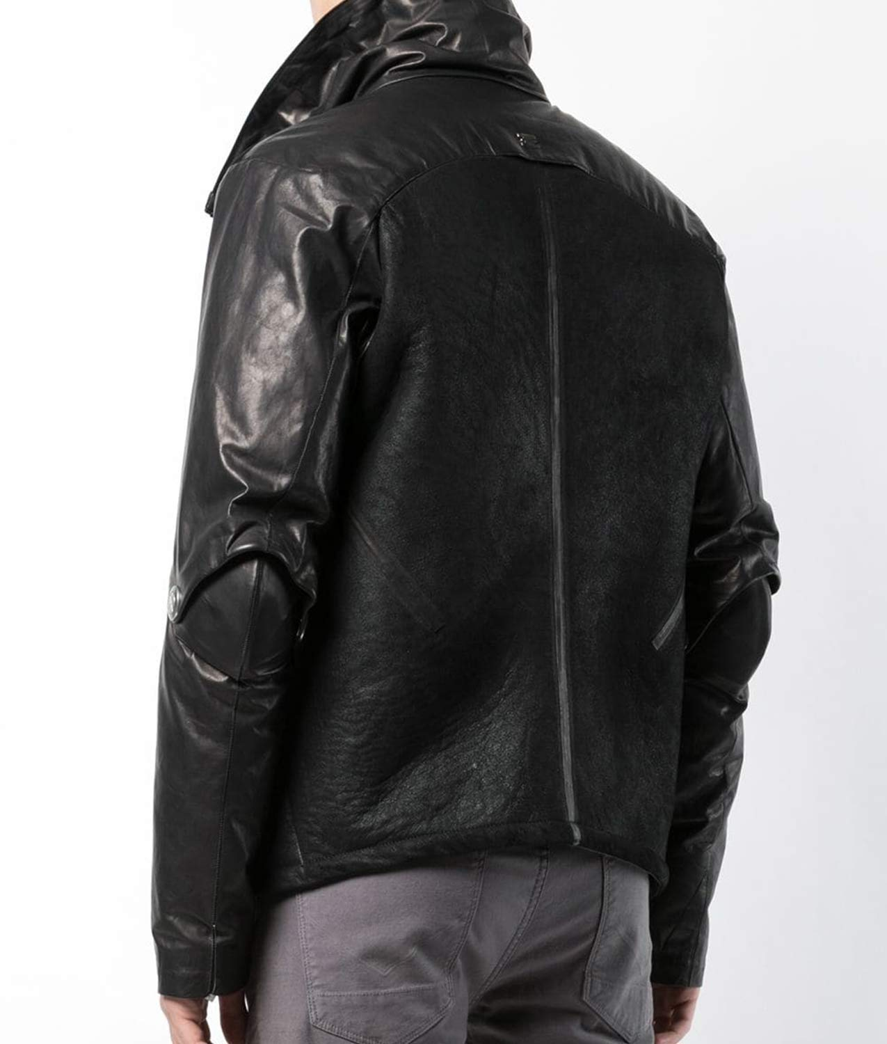 Mens Turn Down Collar Black Down Lined Jacket