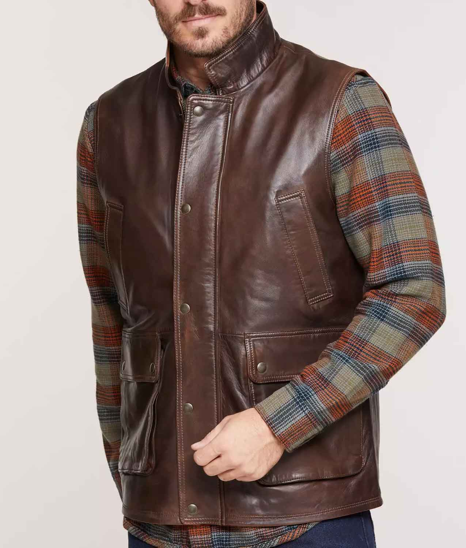 Mens Brown Lambskin Leather Vest