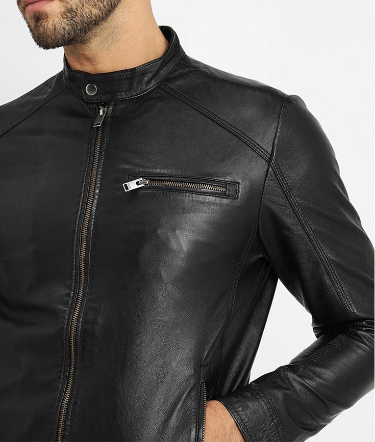Mens Carlo V Racer Mandarin Collar Leather Jacket