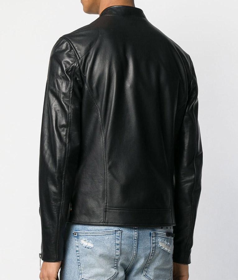 Mens Collar Black Cafe Racer Leather Jacket