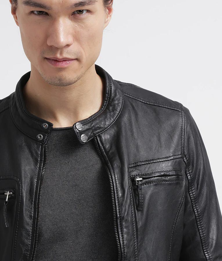 Mens Distressed Black Café Racer Leather Jacket