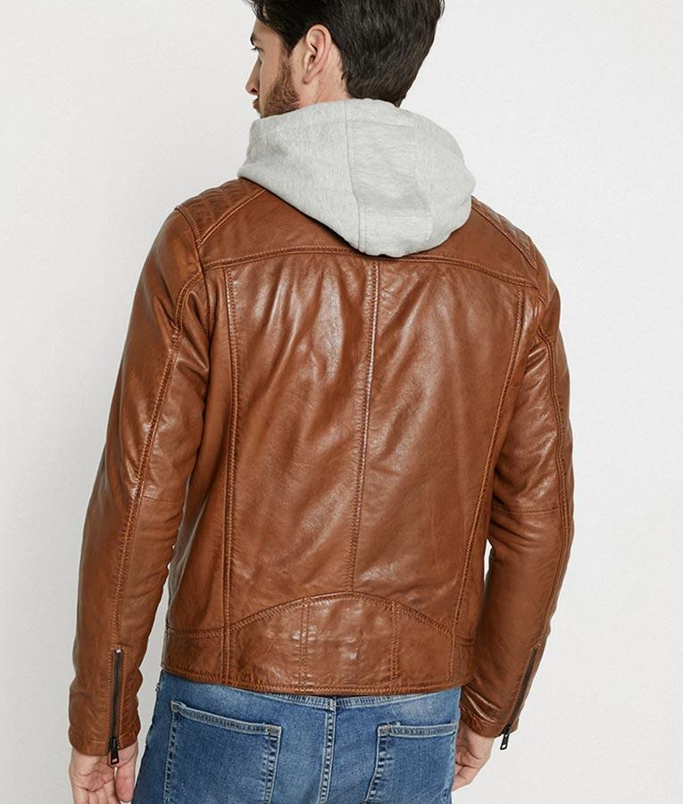 Mens Hooded Collar Brown Cafe Racer Jacket