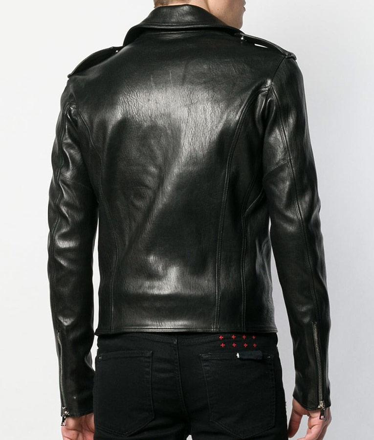 Mens Casual Slimfit Black Motorcycle Leather Jacket