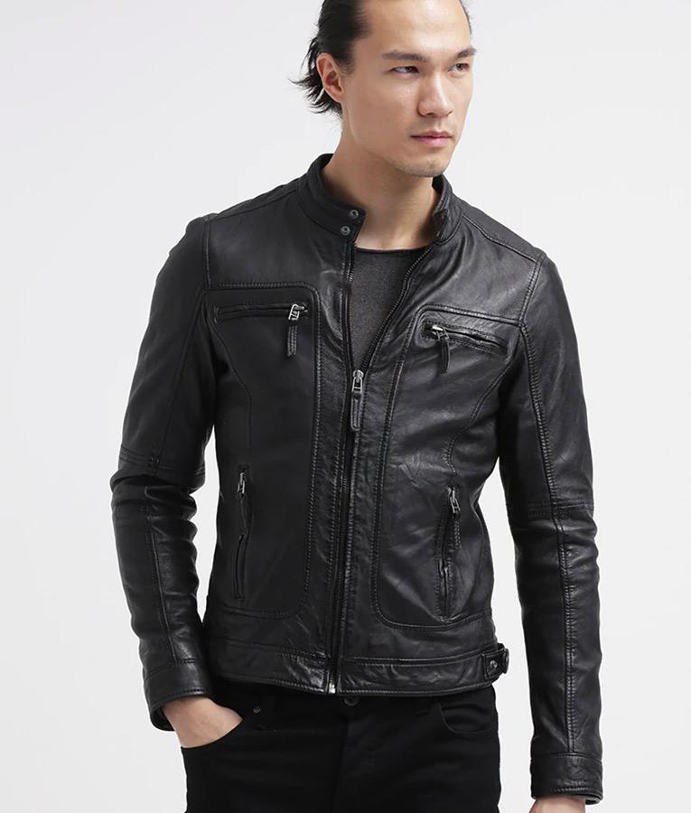 Mens Distressed Black Café Racer Leather Jacket