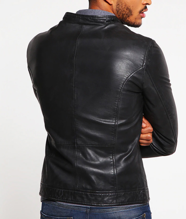 Mens Standing Collar Slimfit Casual Leather Jacket