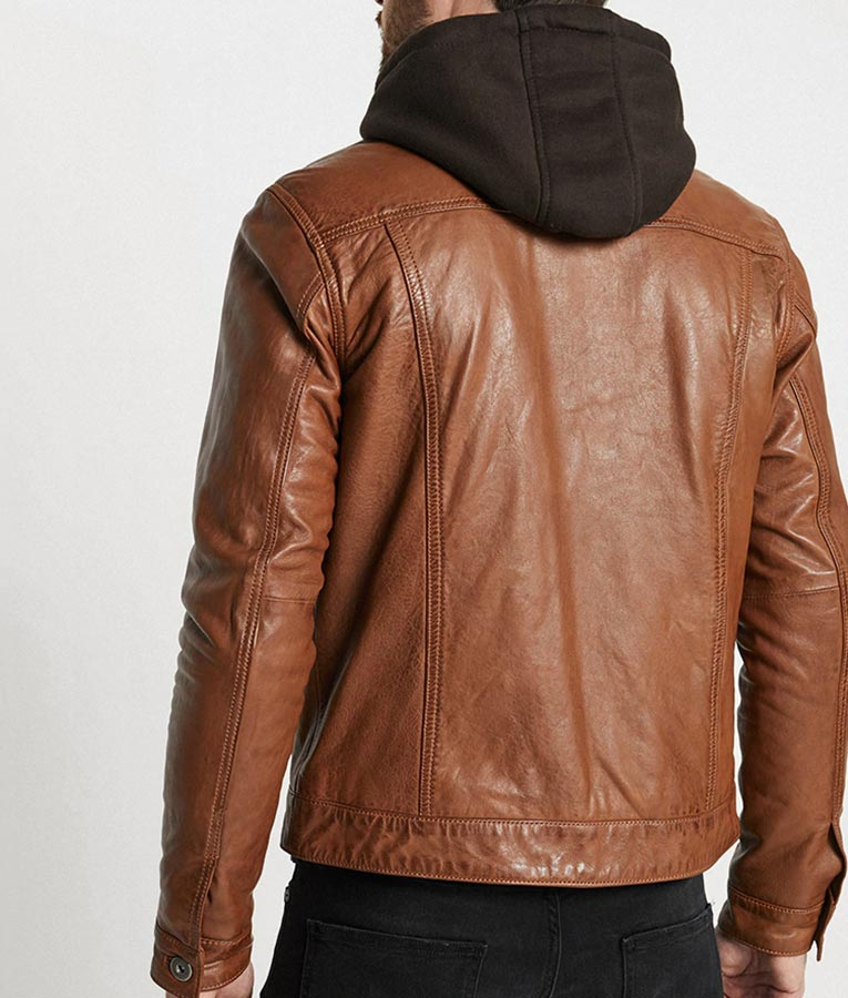 Mens Hooded Collar Brown Casual Jacket