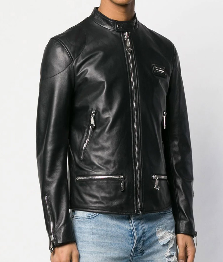 Mens Collar Black Cafe Racer Leather Jacket