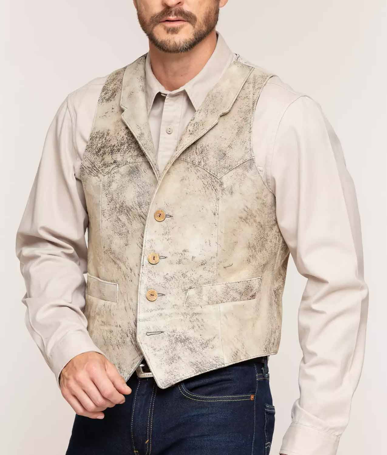 Mens Lambskin Suede Leather Vest