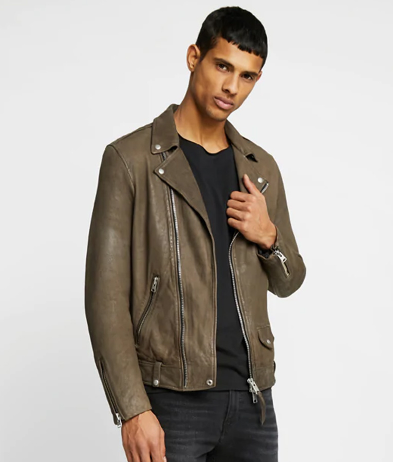 Mens Lapel Collar Biker Distressed Leather Jacket