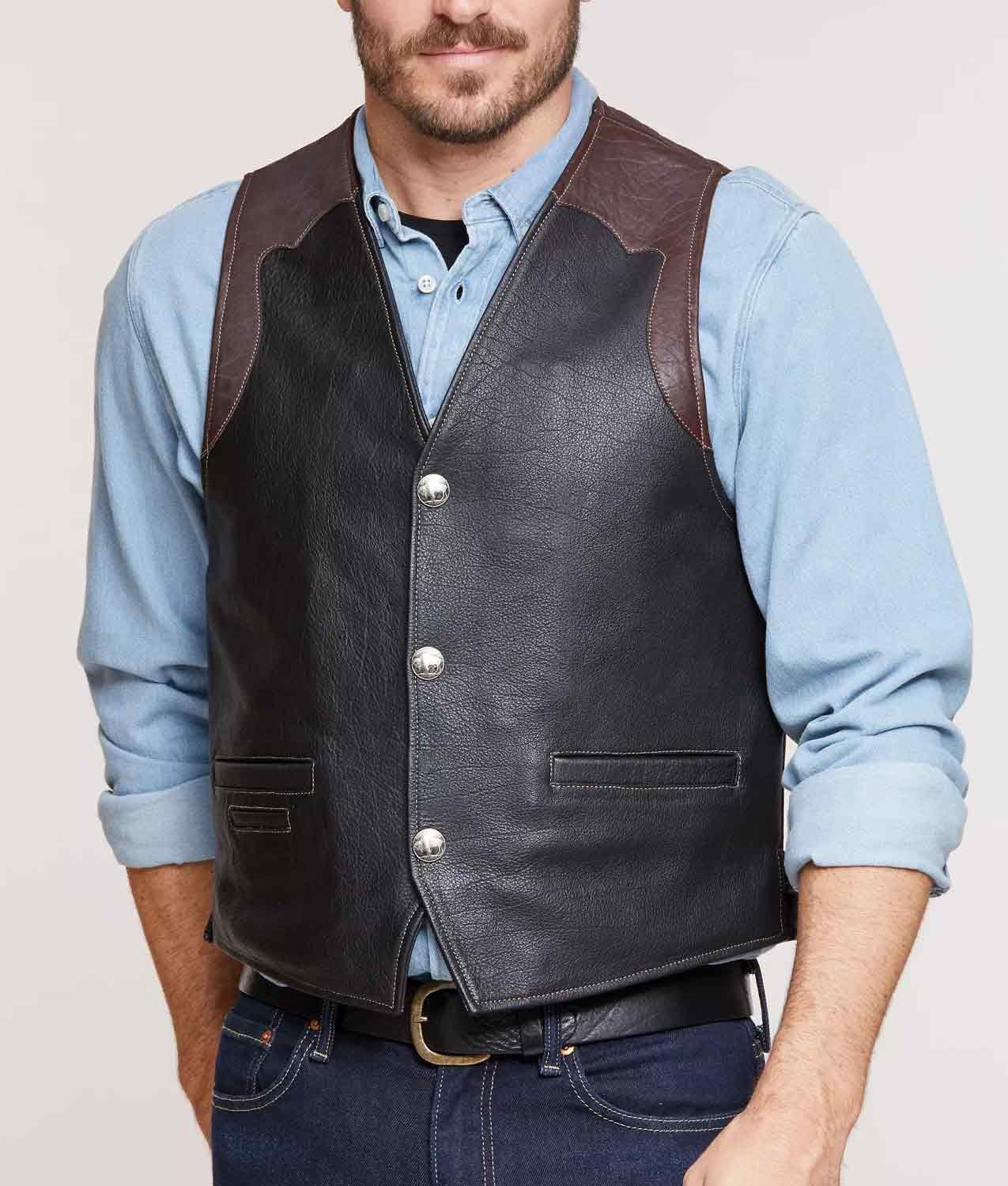 Mens Bison Leather Vest