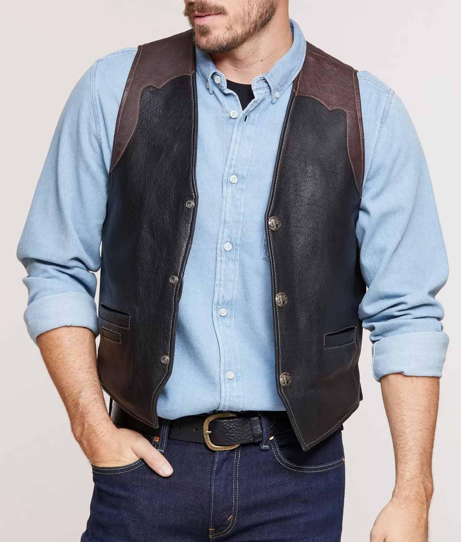 Mens Bison Leather Vest