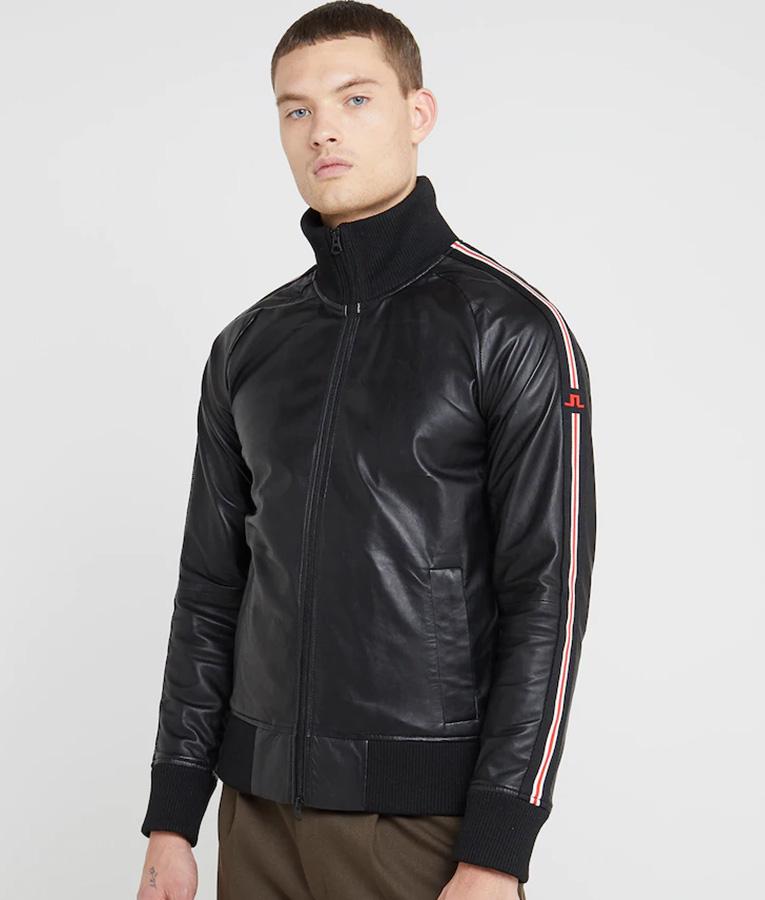 Mens Rib-Knitted Collar Slimfit Bomber Jacket