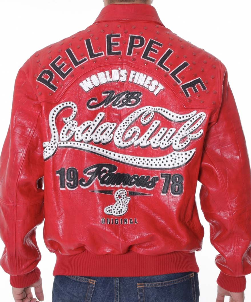Famous Soda Club Pelle Pelle Red Bomber Leather Jacket