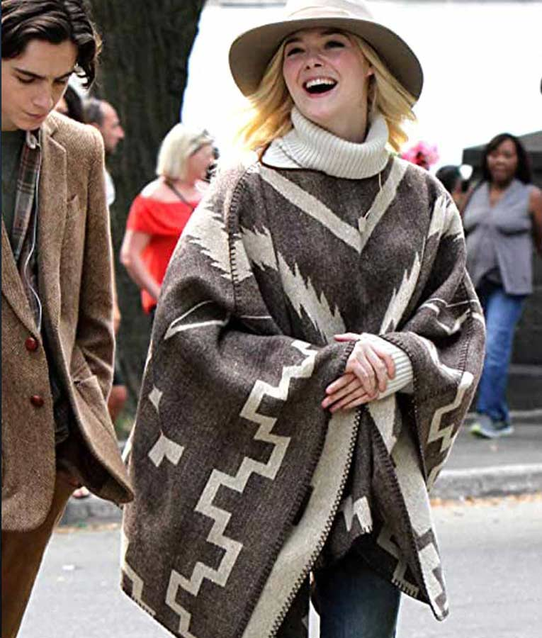 Elle Fanning A Rainy Day In New York Ashleigh Mexican Style Wool-blend Poncho