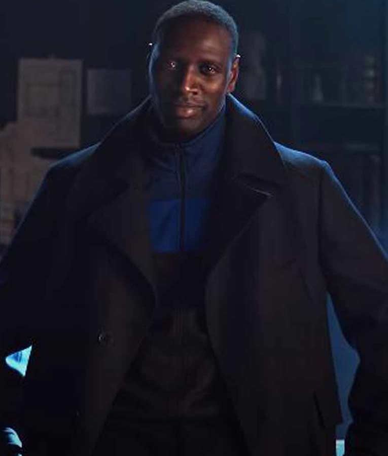 Arsene Lupin Omar Sy Black Trench Wool Coat