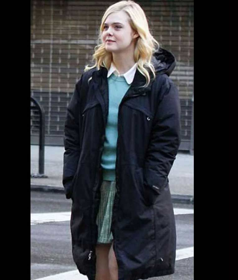 Elle Fanning A Rainy Day In New York Black Ashleigh Coat with Hood