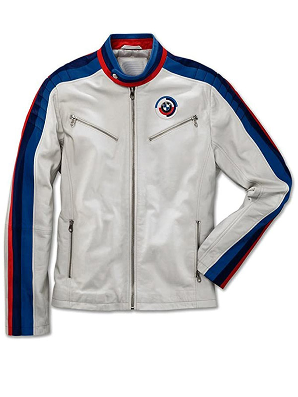 Classical Mens White BMW Motorcycle Leather Jacket