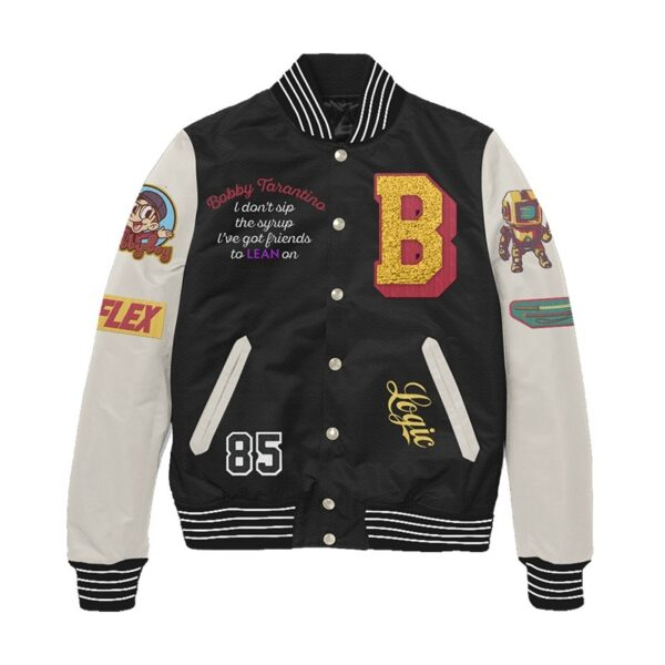 Black and White Bobby Tarantino Letterman Jacket
