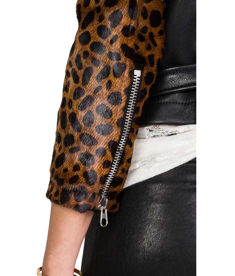 Lucy Hale Pretty Little Liars Cheetah Sleeves Biker Jacket