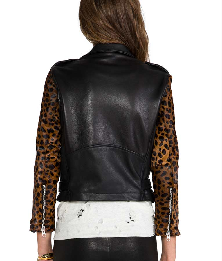 Pretty Little Liars Aria Montgomery Cheetah Sleeves Black Leather Jacket