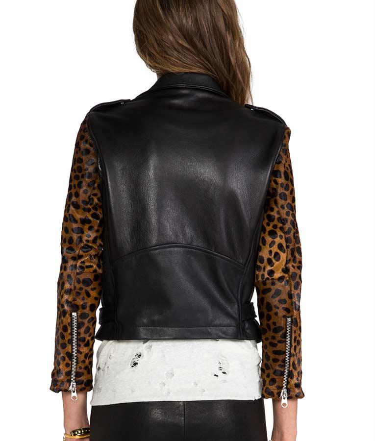 Pretty Little Liars Aria Montgomery Cheetah Sleeves Black Leather Jacket