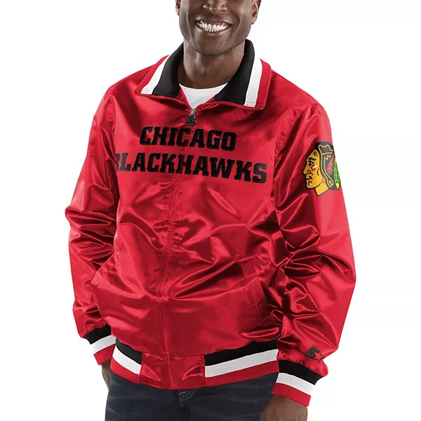 Chicago Blackhawks Captain II Satin Full-Zip Varsity Jacket