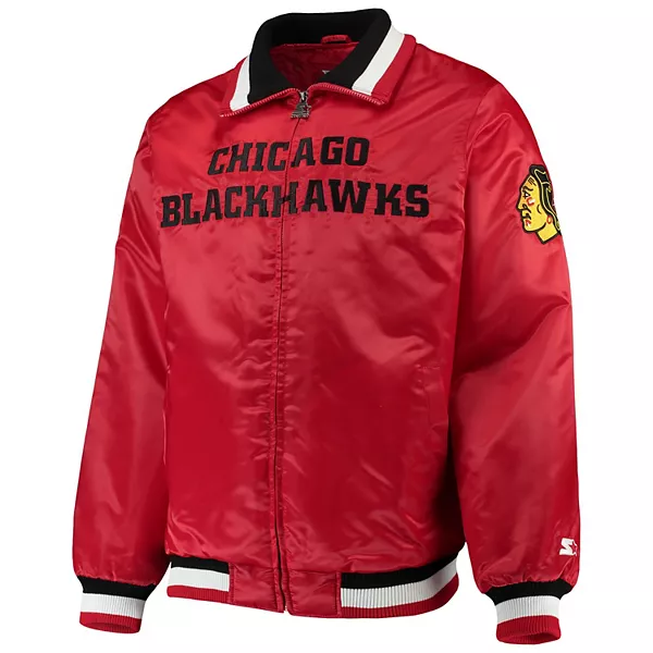 Chicago Blackhawks Starter Captain II Satin Full-Zip Bomber Jacket