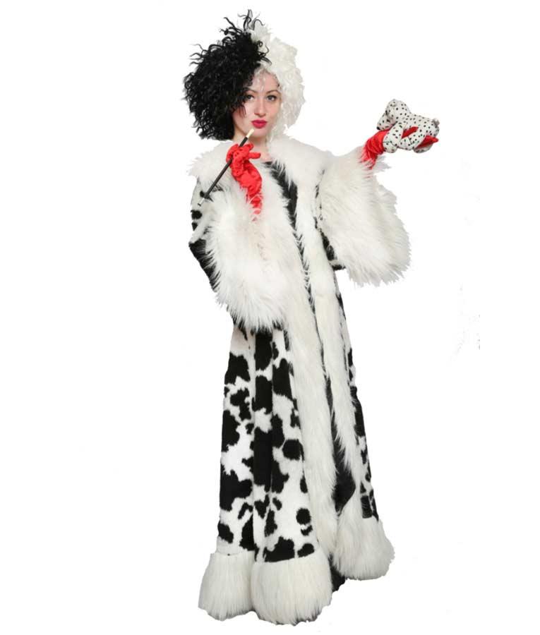 Cruella Deville Black Dot White Faux Fur Long Coat
