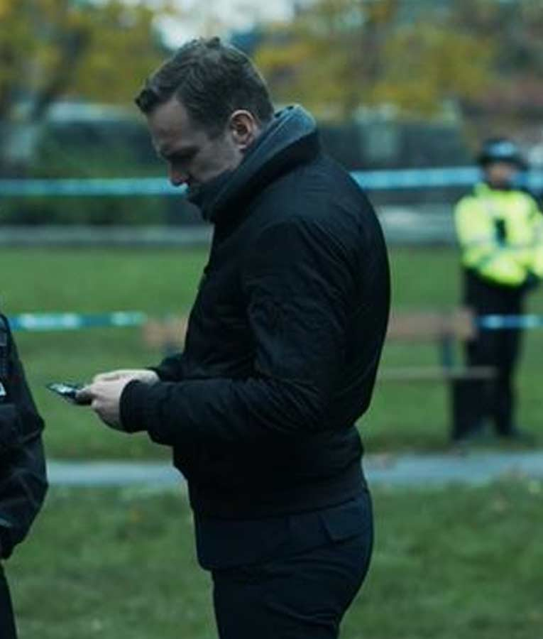 Rafe Spall The Salisbury Poisonings DS Nick Bailey Black Bomber Jacket