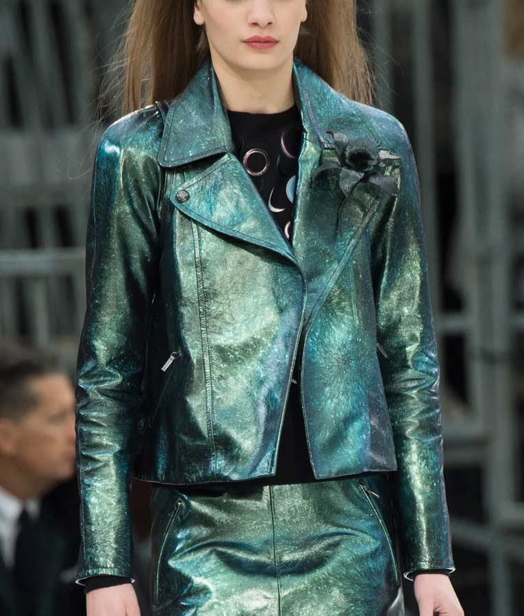 Lily Collins Emily In Paris Emily Green Metallic Motorcycle Jacket