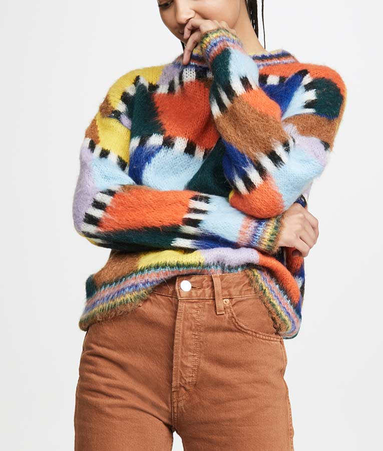 Lily Collins Colorful Fluffy Sweater