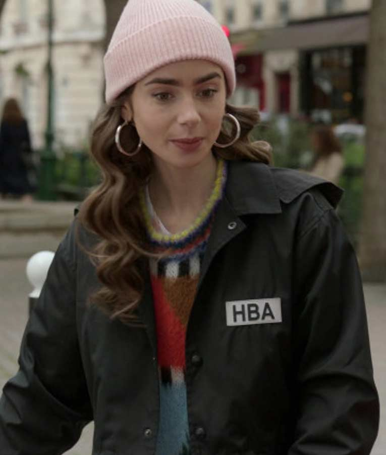 Lily Collins Tv Series Emily In Paris HBA Logo Black Cropped Jacket