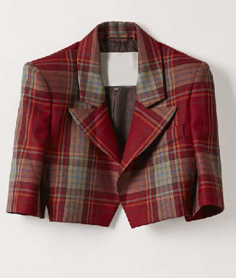 Emily Cooper Cropped Red Plaid Jacket