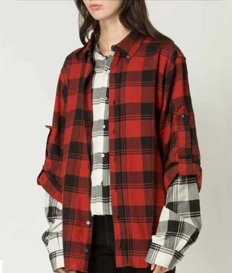 Emily In Paris Lily Collins Red Plaid Shirt