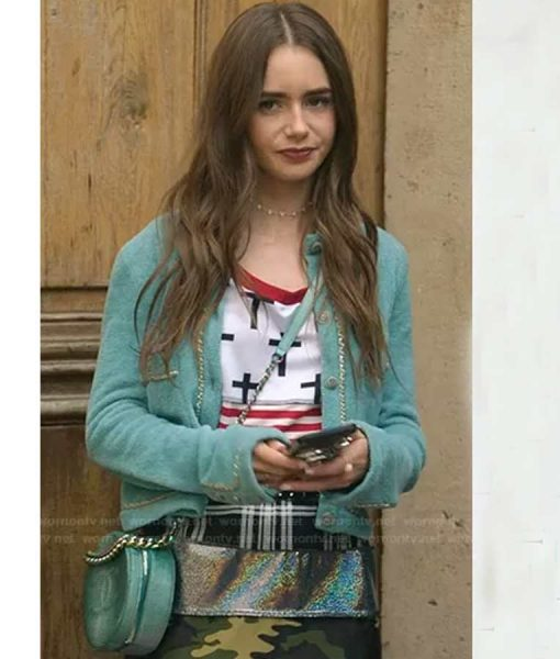 Lily Collins Emily In Paris Blue Chain Trim Emily Cardigan