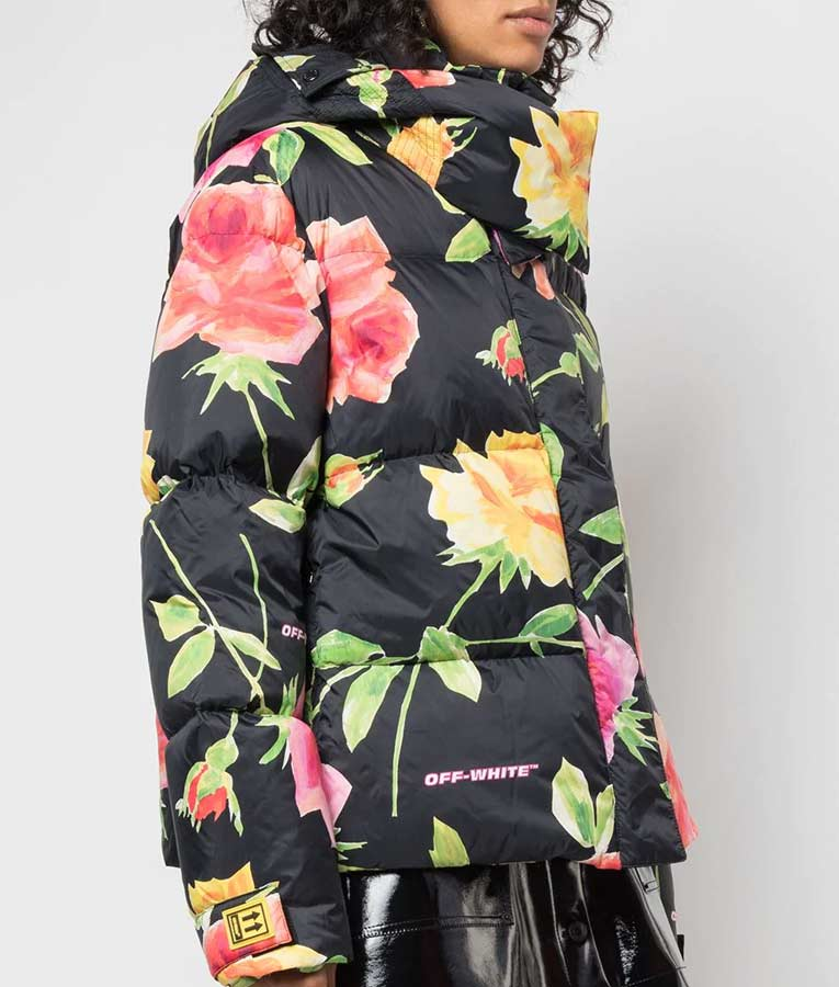 Lily Collins Emily In Paris Emily Floral Puffer Jacket with Hood