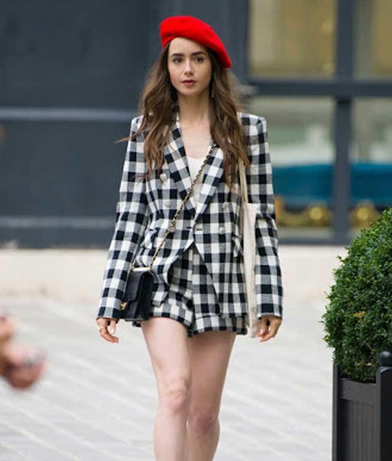 Tv Series Emily In Paris Lily Collins Check Blazer