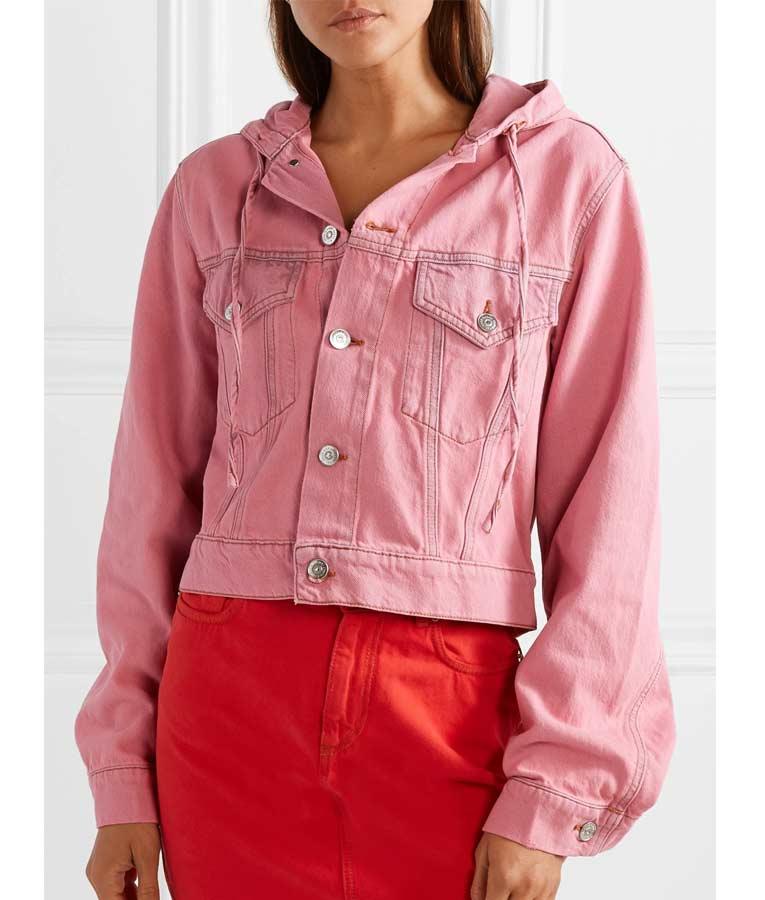 Lily Collins Tv Series Emily In Paris Pink Hooded Denim Jacket